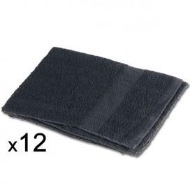 12 x Toalla 40x80cm 100% algodon 380gr / m2 Negra